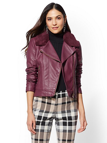 Maroon Faux Sherpa-Lined Moto Jacket - New York & Company