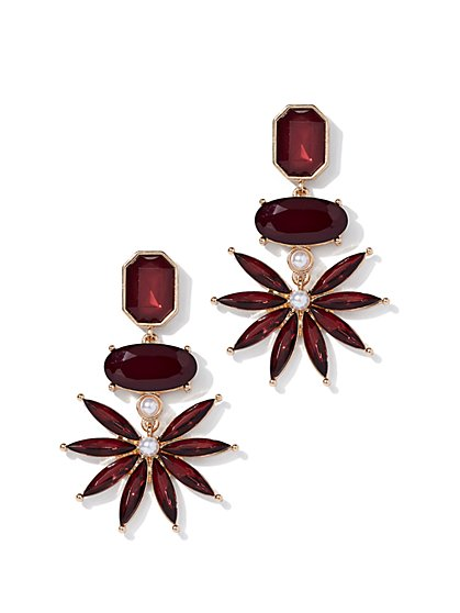Maroon Floral Drop Earring - New York & Company