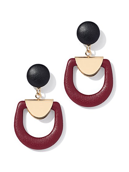 Maroon Goldtone Drop Earring - New York & Company