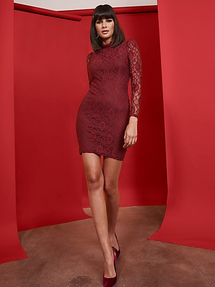 Maroon Lace Sheath Dress - New York & Company