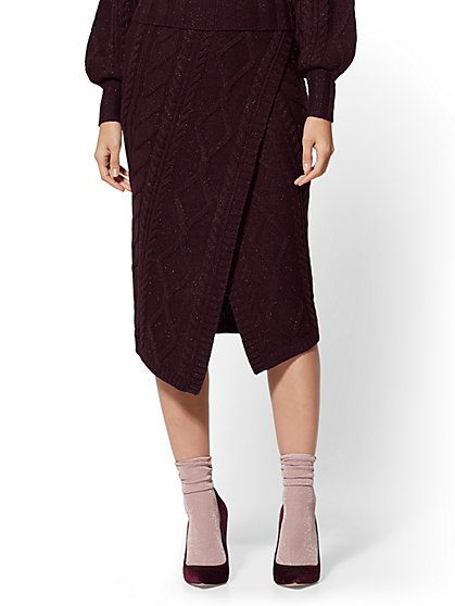Maroon Metallic Cable-Knit Sweater Skirt - New York & Company
