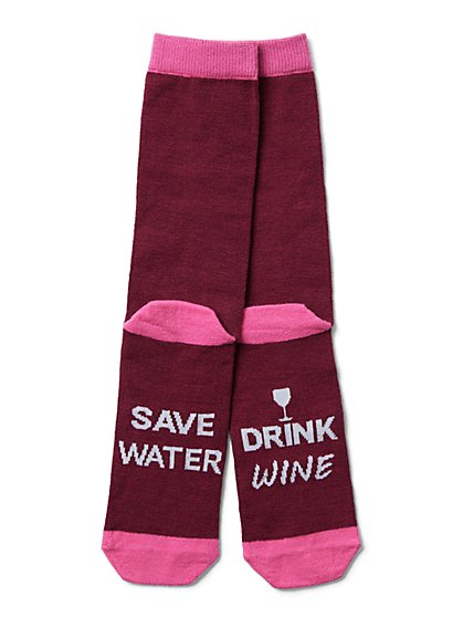 "Maroon ""Save Water, Drink Wine"" Sock - New York & Company"