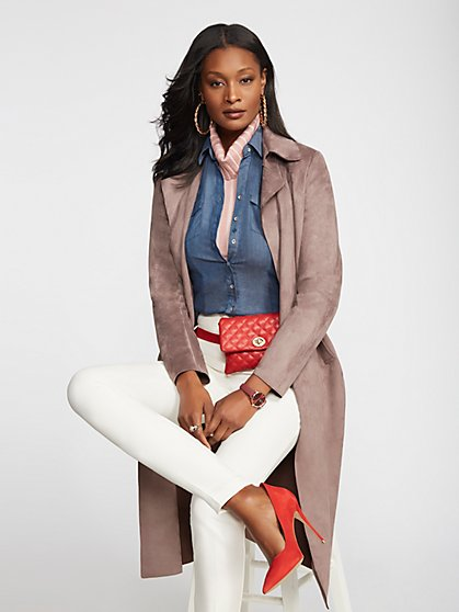 Mauve Faux-Suede Trench Coat - New York & Company