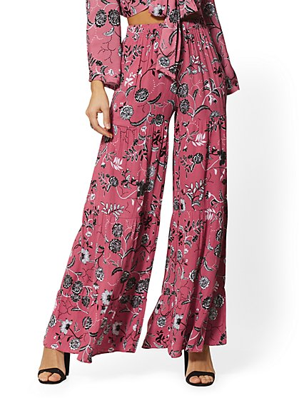 Mauve Floral Pull-On Wide-Leg Pant - New York & Company
