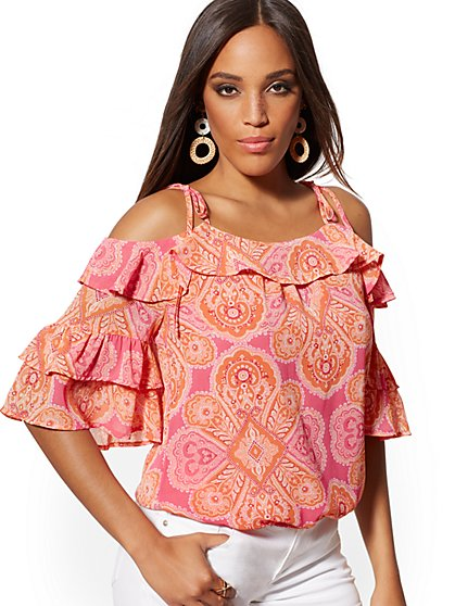 Medallion-Print Ruffled Cold-Shoulder Blouse - New York & Company
