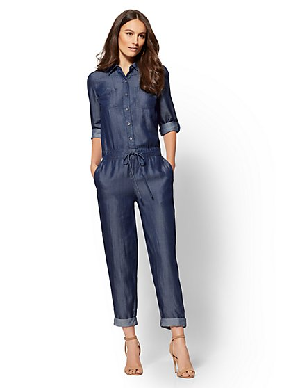 Medium Blue Ultra-Soft Chambray Jumpsuit - New York & Company