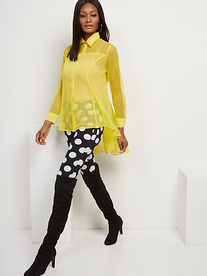 Mesh-Accent Hi-Lo Tunic Shirt - New York & Company