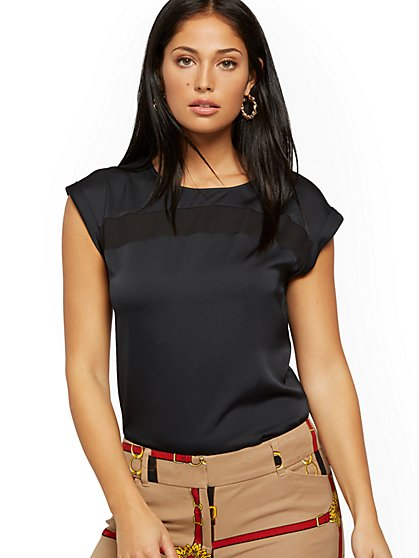 Mesh-Inset Cuffed-Sleeve Top - 7th Avenue - New York & Company