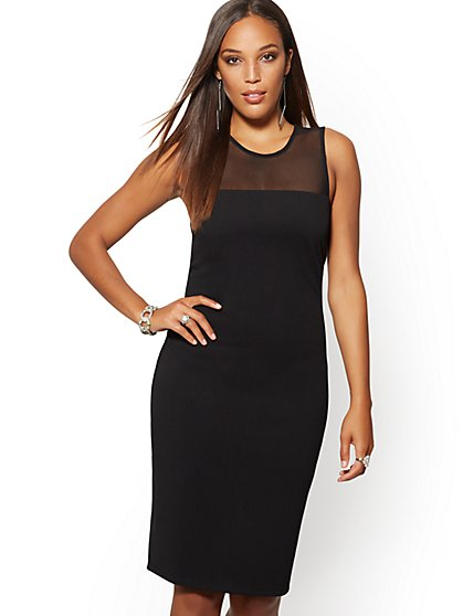 Mesh-Inset Sheath Dress - Magic Crepe® - New York & Company