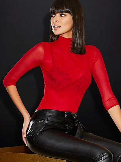 Mesh Mock-Neck Top - Sweet Pea - New York & Company
