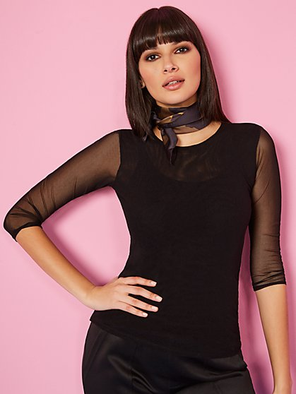 Mesh Scoopneck Top - Sweet Pea - New York & Company