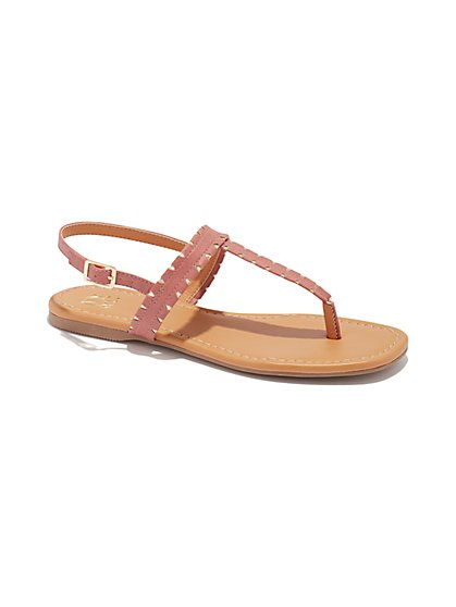 Metallic-Accent T-Strap Sandal - New York & Company