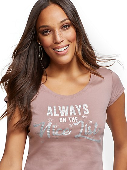 "Metallic ""Always On the Nice List"" Graphic Logo Tee - New York & Company"
