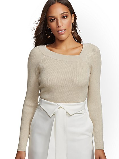 Metallic Asymmetric-Neck Sweater - New York & Company