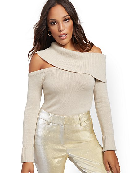 Metallic Beige Off-The-Shoulder Sweater - New York & Company