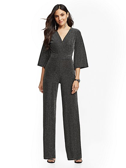 Metallic Bell-Sleeve Wrap Jumpsuit - New York & Company
