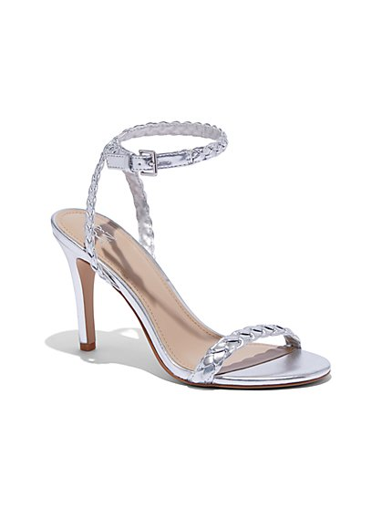 Metallic Braided-Strap High-Heel Sandal - New York & Company