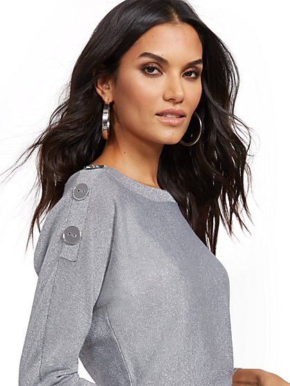 Metallic Button-Accent Dolman Sweater - 7th Avenue - New York & Company