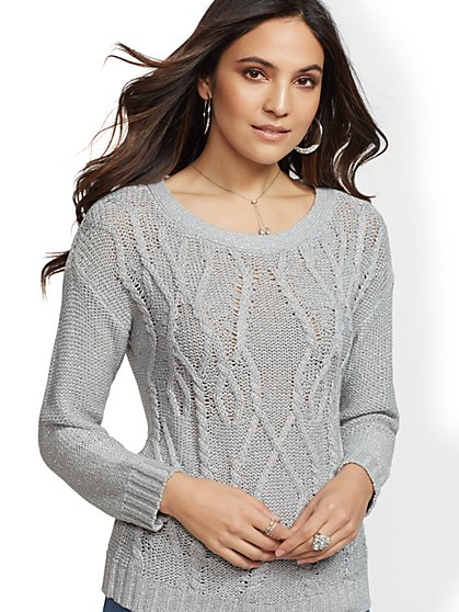 Metallic Cable-Knit Dolman Sweater - New York & Company