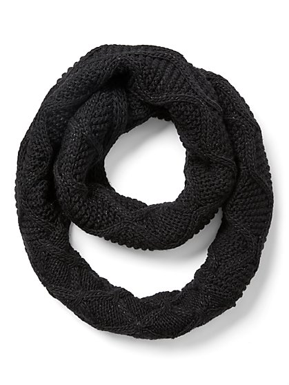Metallic Cable-Knit Infinity Scarf - New York & Company