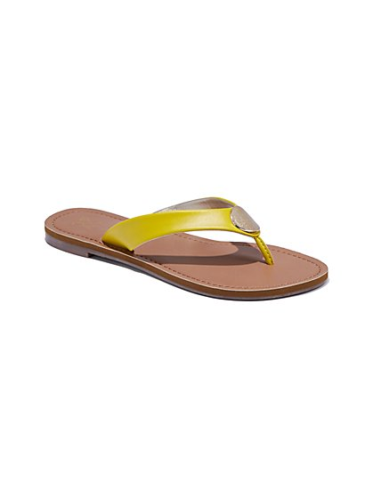 Metallic Disk-Accent Flip-Flop Sandal - New York & Company