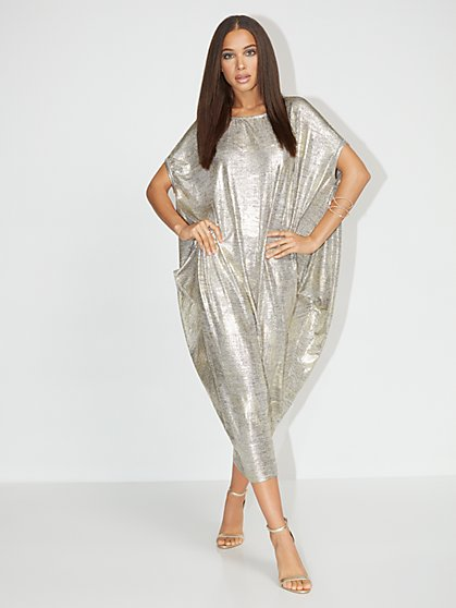 Metallic Dolman Knit Maxi Dress - NY&C Style System - New York & Company