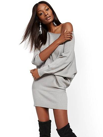 Metallic Dolman Sweater Dress - New York & Company