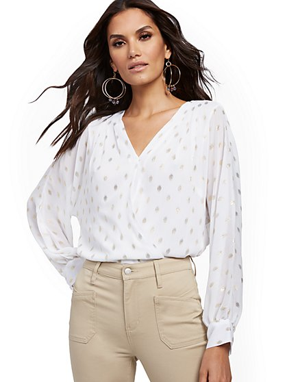Metallic-Dot Pleated Wrap Blouse - New York & Company