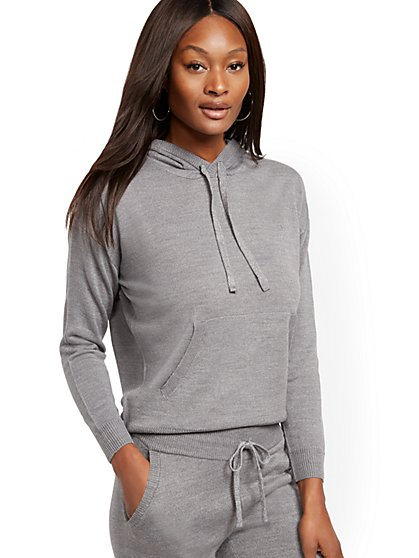 Metallic Drawstring-Tie Hooded Sweater - New York & Company