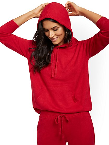 Metallic Drawstring-Tie Hooded Sweatshirt - New York & Company