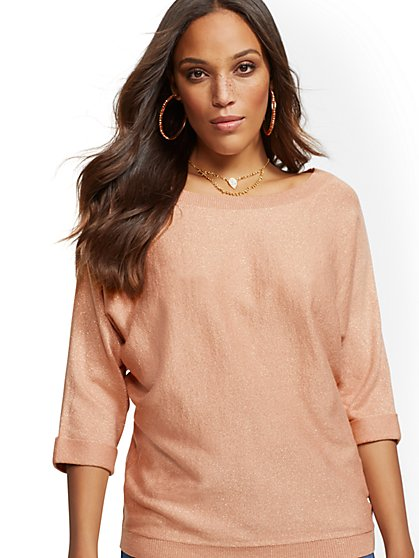 Metallic Easy Dolman Sweater - New York & Company