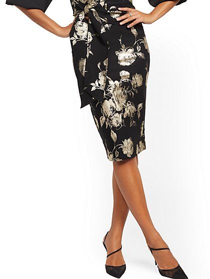 Metallic Floral Pencil Skirt - New York & Company