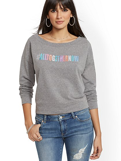"Metallic-Foil ""#AllTogetherNow"" Sweatshirt - New York & Company"
