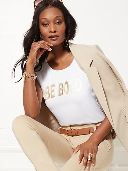 "Metallic-Foil ""Be Bold"" Graphic Tee - 7th Avenue - New York & Company"