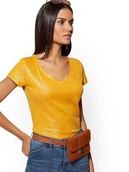 Metallic-Foil Cotton V-Neck Top - Hampton Tee - New York & Company