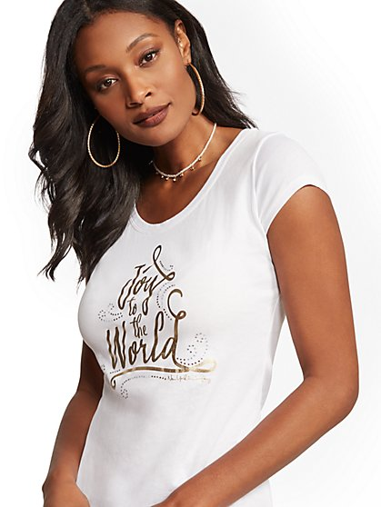 "Metallic-Foil & Faux-Stone ""Joy To the World"" Graphic Logo Tee - New York & Company"