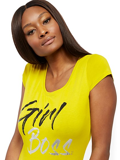 "Metallic-Foil ""Girl Boss"" Graphic Logo Tee - New York & Company"