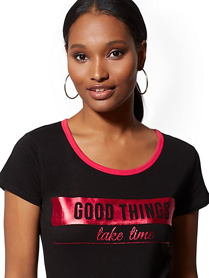 "Metallic-Foil ""Good Things Take Time"" Graphic Logo Tee - New York & Company"