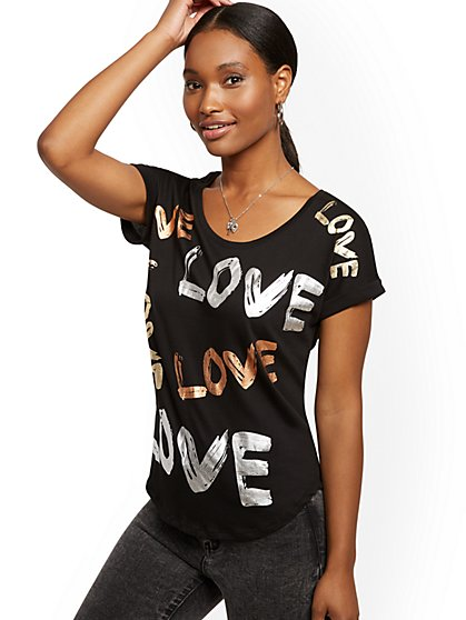 "Metallic Foil ""Love"" Graphic Tee - New York & Company"
