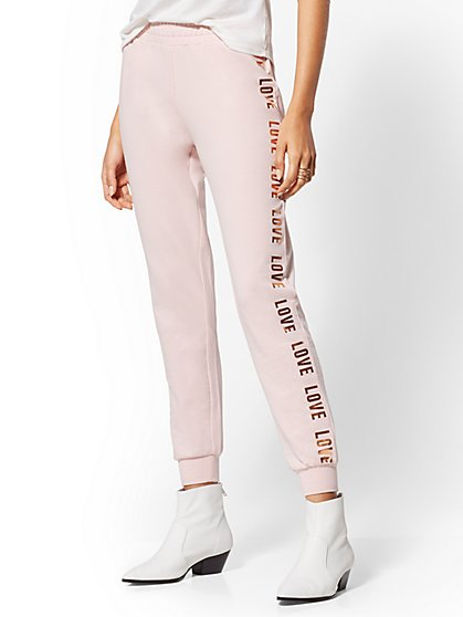 "Metallic-Foil ""Love"" Jogger Pant - Soho Street - New York & Company"