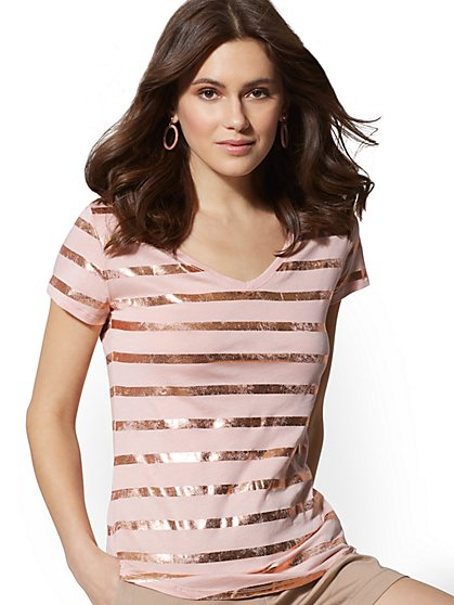 Metallic-Foil Stripe Cotton Top - Hampton Tee - New York & Company