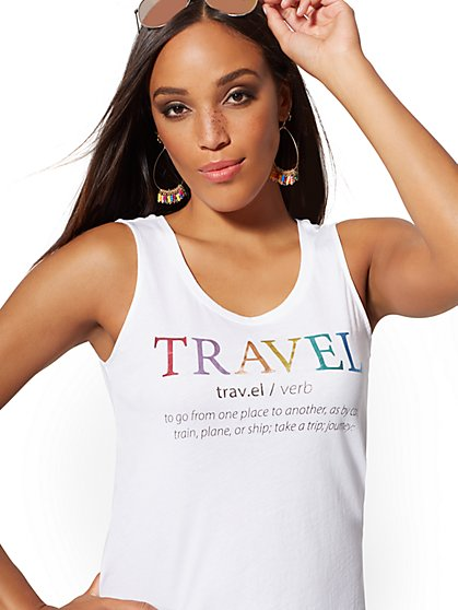 "Metallic-Foil ""Travel"" Graphic Tank Top - New York & Company"