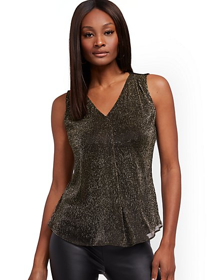 Metallic Goldtone Sleeveless Top - New York & Company