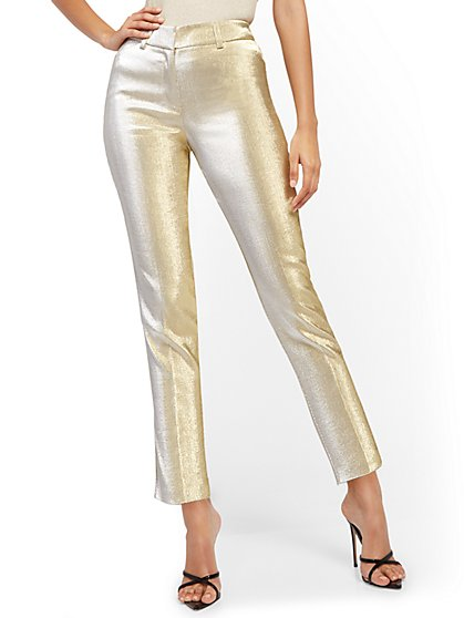 Metallic Goldtone Slim Ankle Pant - New York & Company