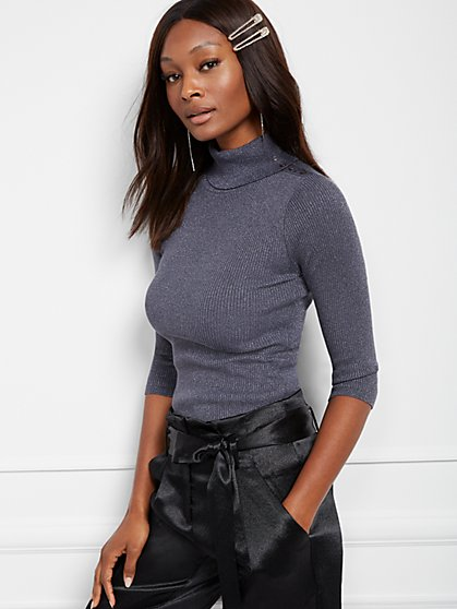 Metallic Grey Button-Accent Turtleneck Sweater - 7th Avenue - New York & Company