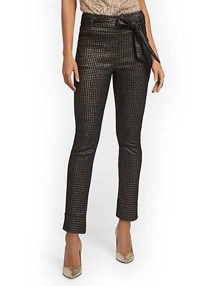 Metallic Houndstooth Pull-On Ankle Pant - New York & Company