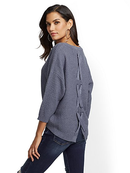 Metallic Lace-Up Back Sweater - New York & Company