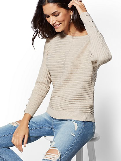 Metallic Lace-Up Cuff Dolman Sweater - New York & Company
