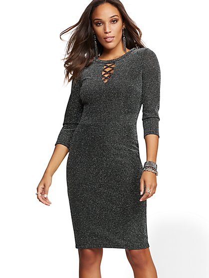 Metallic Lace-Up Sheath Dress - New York & Company