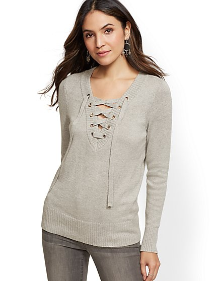 Metallic Lace-Up V-Neck Sweater - New York & Company